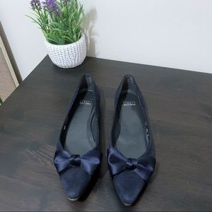 Stuart Weitzman Blue Suede Pointer Bow Flats